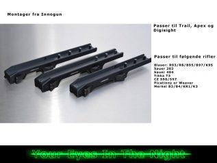 montager til pulsar trail, digisight og apex fra Innogun